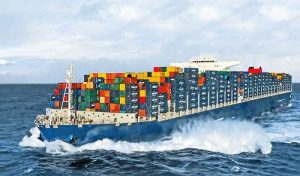 Moving container ship